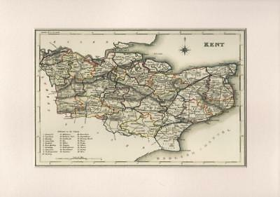 County of Kent Reproduction Mounted Map S Lewis County Maps England & Wales 1848