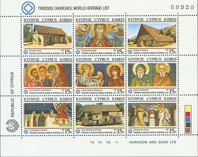 Cyprus 1987: Troodos Churches Sheet (Sc# 686) Lot Of 6 Mnh