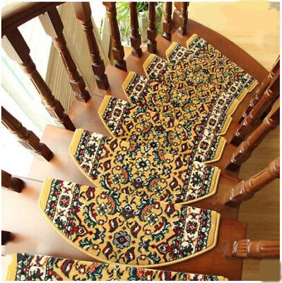E26 5PCS Household Stair Tread Mat Skid Resistance Step Rug Carpet 100X24CM Z