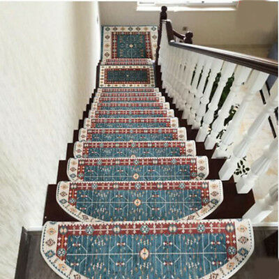 E7 5PCS Skid Resistance Stair Tread Mat Household Step Rug Carpet 24X65CM Z