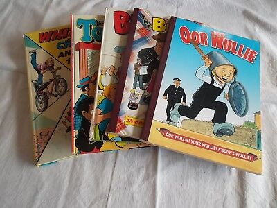 Job lot of 5 annuals - Beryl, Topper, Whizzer, Broons and Oor Wullie