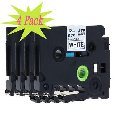 4PK 12mm Black on White Label Tape Compatible for Brother TZ 231 TZe 231 P-Touch