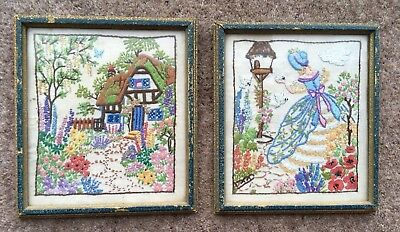 2 Vintage Embroidered Pictures Crinoline Lady, Bluebird, Thatched Cottage Garden