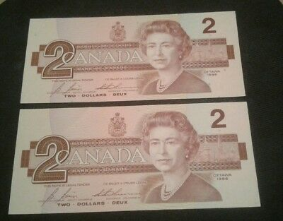 1986 $ 2 Dollar Canada Bill Note  Very Crisp  Gemunc Two Consecutive Rare