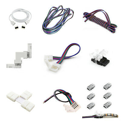 4Pin 10mm 3528 5050 RGB LED Strip Light Connectors Extension Cable Wire Adapter