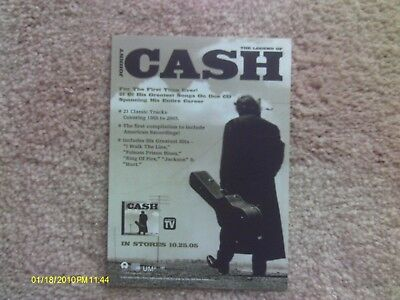 2005 Johnny Cash CD Advertisement card; The Legend of Cash, Hank Williams