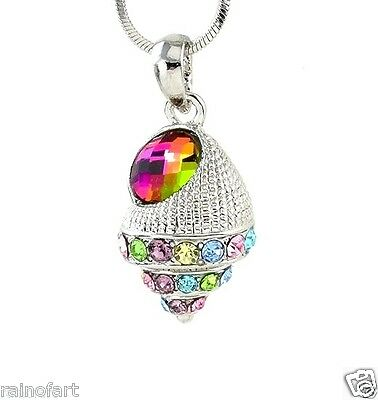 "Sea Shell W Swarovski Crystal Ocean Seashell Multi Color New Pendant 18"" Chain"