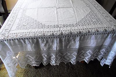 "Antique White Linen Tablecloth Drawn Lace Inserts 10"" Crochet Hem 67"" X 69"""