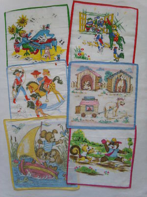 Vintage 6 CHILD Children HANDKERCHIEF Boys Girls Cotton Dogs Animals Humorous