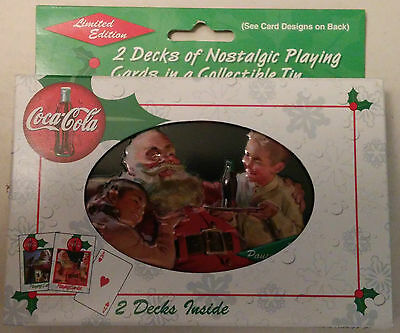 Coca-Cola Bicycle Brand Playing Cards 2 Decks Collectible Tin Santa Claus Coke