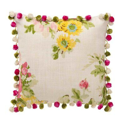 Glenna jean Charlotte Pillow - Floral with Pom Poms