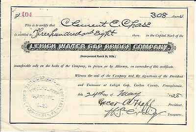 PENNSYLVANIA Lehigh Water Gap Bridge Company Stock Certificate 1928