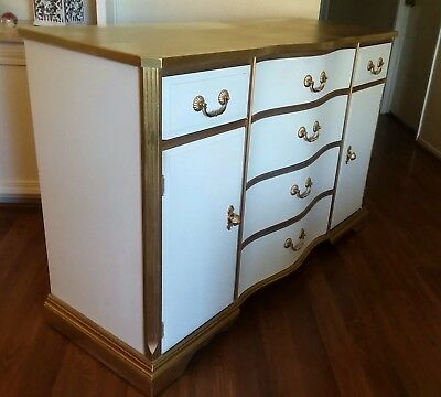White French Country Provincial  Dining Sideboard Cabinet Credenza Duncan Phyfe