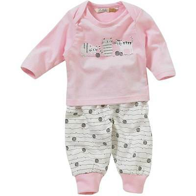 Lullaby Baby Girls Cute Kittens Cats Trio Print Pyjamas Cotton Pink White 0-9mth