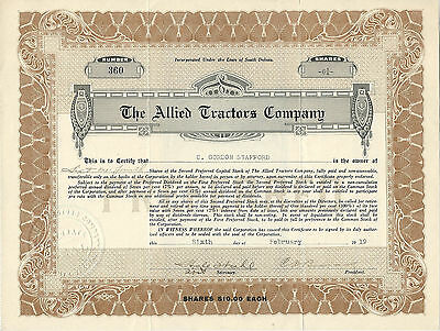 South Dakota 1919, The Allied Tractors Co Stock Certificate