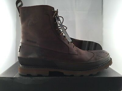 0e3e27885 MEN SOREL MADSON Wingtip Waterproof Leather Brogue Ankle Boots BROWN 10.5