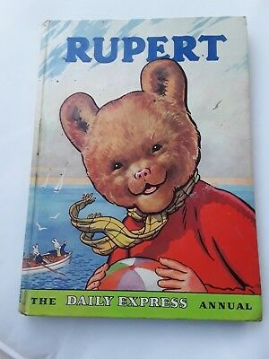 Vintage Original 1959 Rupert Bear Annual, Part Coloured, Incribed, Not Clipped