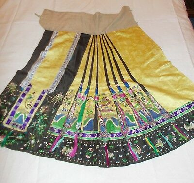 RARE ANTIQUE 19/ 20th CHINESE EMBROIDERED 2- PANEL SILK SKIRT EMBROIDERY