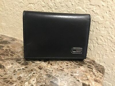 53eb2e884db1 VINTAGE GUCCI Men's Black Leather Credit Card Case Wallet with Metal G on  Front