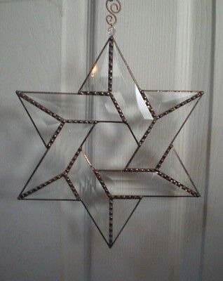 *Stained Glass Large  Beveled Glass STAR OF DAVID Sun catcher Window Ornament*
