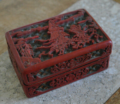 Carved Chinese Red Cinnabar Lacquer Box, Chinese Box, Marked China
