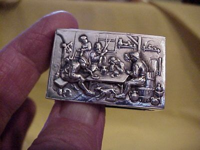 Early 800 Silver Repousse Match Box Holder  With Hallmarks With Mono