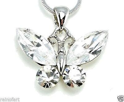 "Butterfly Made With Swarovski Crystal Clear Pendant Necklace Jewelry 18"" Chain"