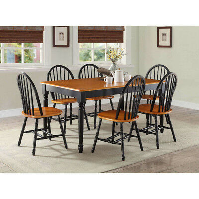 7 Piece Dining Set Table and 6 Chairs Country Farmhouse Black Oak Solid Wood