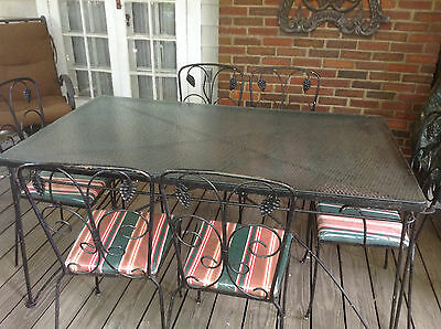 Patio table & chair set, antique wrought iron mid-century, flower scroll design