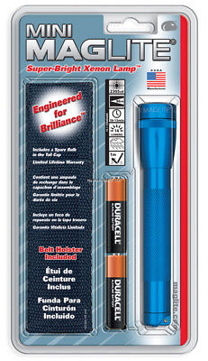 NEW! Maglite Mini Incandescent 2-Cell AA Flashlight with Holster, Blue SM2A11H