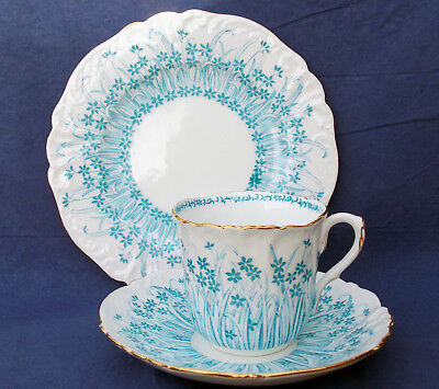 Rare Wileman Foley China 'grass Print' Foley Shape Trio In Turquoise Colourway
