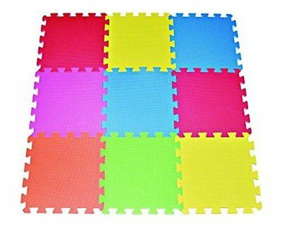 POCODIVO 9-tile Multi-color Exercise Mat Solid Foam EVA Playmat Kids Safety READ