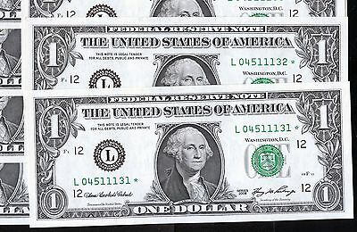 10 of 2006 US 1$ Replacement Bank Notes In Series (L04511131* - L04511140*)