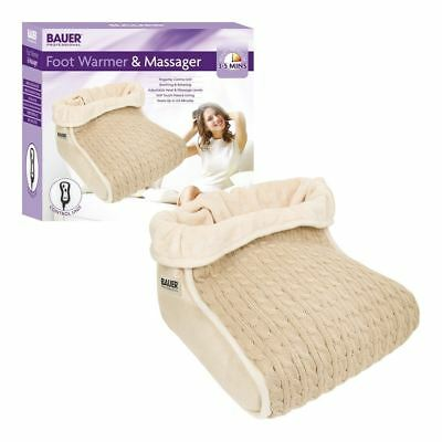 Bauer Beige Electric Heated Foot Massager Comfort Warmer Fleece Lined Boot