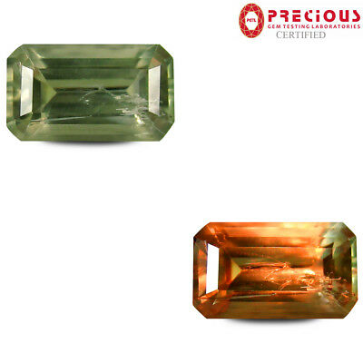 4.90 ct PGTL Certified Octagon (13x7 mm) UnHeated Color Change Diaspore Gemstone