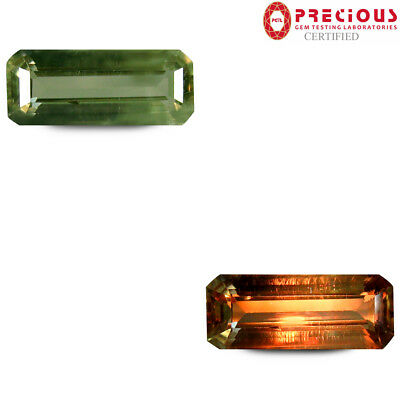 3.20 ct PGTL Certified Octagon (14x6 mm) UnHeated Color Change Diaspore Gemstone