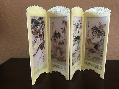 Vintage Asian Chinese Miniature 4 Panels Folding Screen Doll House