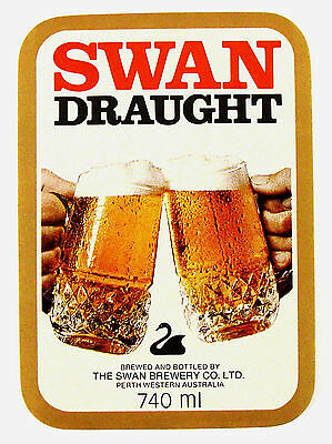 The Swan Brewery Co SWAN DRAUGHT beer label West. AUSTRALIA 740ml