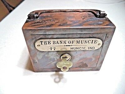 W.F. BURNS CO. THE BANK of MUNCIE, INDIANA  1  KEY  # 77   HANDLE BANK ANTIQUE