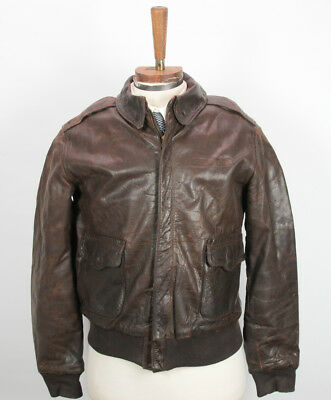 Original WWII A-2 Brown Leather Bomber Flight Jacket 42