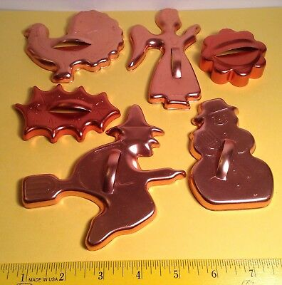 Vintage Lot Of Six Copper Color Cookie Cutters Witch Turkey Angel Snowman Etc