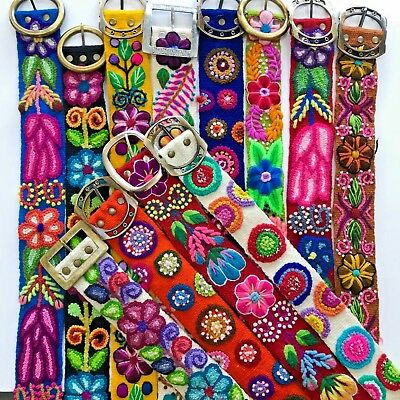 Wholesale Peruvian Belts. A Dozen Assorted Hand Embroidered Wool Belts.