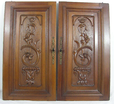pair French antique door panel carved griffin griffon manticore chimeras lion
