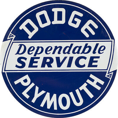 Dodge Plymouth Dependable Service Advertising Metal Sign
