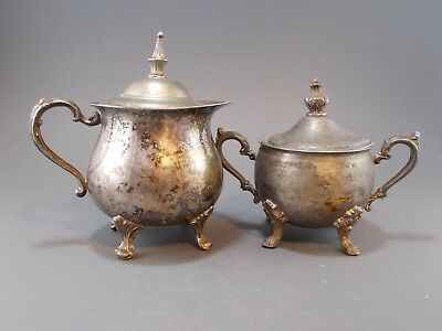 Sheridan Silver On Copper Sugar Bowl With Lid and Creamer With Lid 2 Piece Set