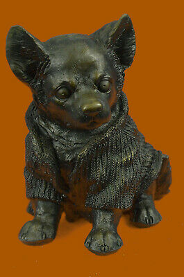Hand Made Chihuahua Dog In Hooded Sweater Statue Figurine Bronze Sculpture