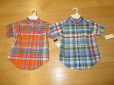 Nwt-Boys Polo Ralph Lauren S/s Dress Shirt: Orange Or Blue Plaid Size: 4  $28.00