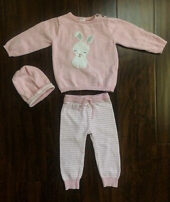 Baby Girls' 3pc Bunny Stripe Sweater Set Just One You by Carters,12 months