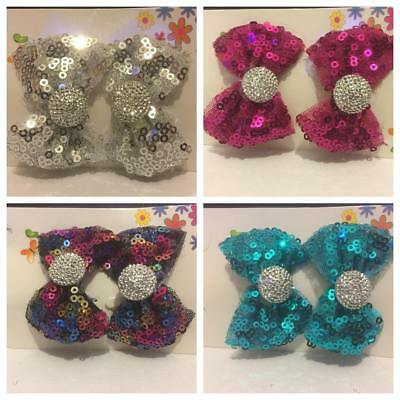 PAIR Cute Girl Sequin Party Hair Bow Knot Clip  Baby Bridesmaid Flower Sequins