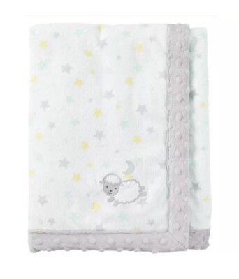 Carters Child of Mine White Lamb Sheep Yellow Stars Baby Blanket Gray Minky Dot